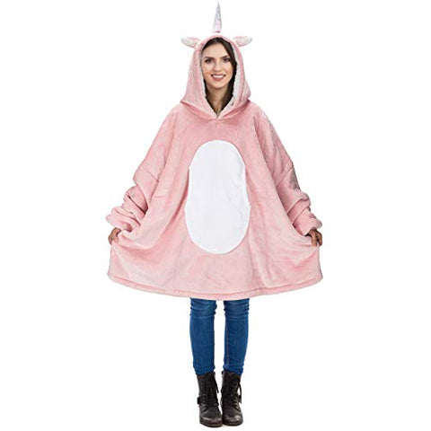 Pink Unicorn Oversized Hoodie Blanket | Giant Pullover For Adults, Women, Teenagers