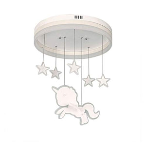 Unicorn Round Chandelier, Star Pendant LED Light Clear