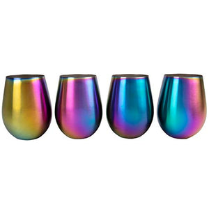Rainbow Unicorn Stainless Steel Stemless Wine Glasses, 16oz - Set of 4