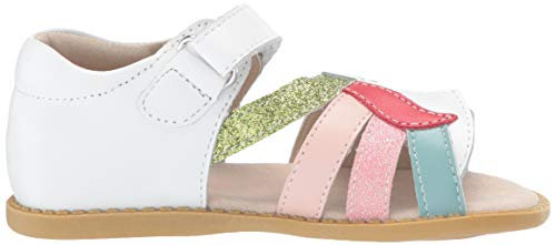 Livie & Luca Girls' Toddler Unicorn Flat Sandal, Rainbow, Pale Pink, White, Gold Glitter