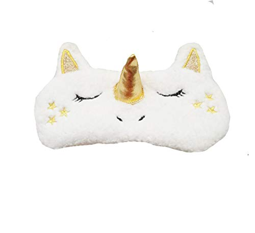 dressfan Unisex Adult Kids Unicorn Sleeping Mask Travel Eye Mask Cute Unicorn Horn Soft Plush Blindfold Shade Cover for Women Girls novelty sleep mask Men silk