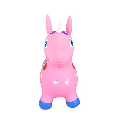 Kids Eco-Friendly PVC Inflatable Pink Unicorn, Pump Included, Children's Jumping Hopper, Sit And Bounce