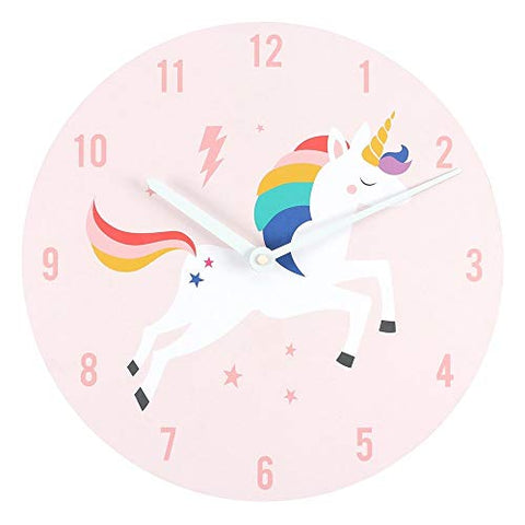 Rainbow Unicorn Wall Clock | Pink | Silent Non Ticking