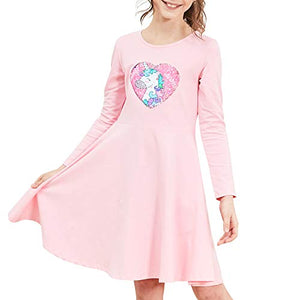 Pink Unicorn Sequinned Long Sleeved Dress For Girls | Various Sizes