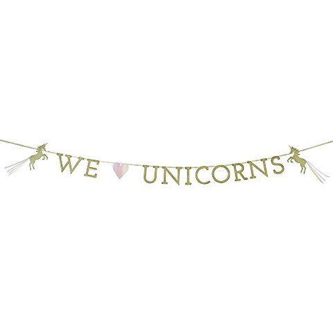We Heart Unicorns Paper Banner Decoration with Glitter Detail