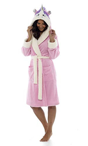 Ladies Unicorn Hooded Dressing Gown | Bathrobe | Pink | Various Sizes