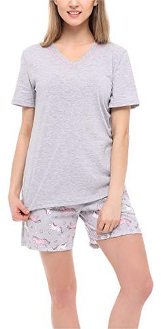 Ladies Unicorn Pyjama Set Grey