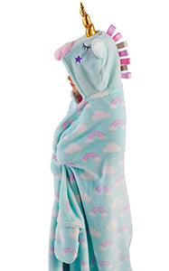 Snuggle Up Girls Hooded Supersoft Fleece Blanket | Unicorn