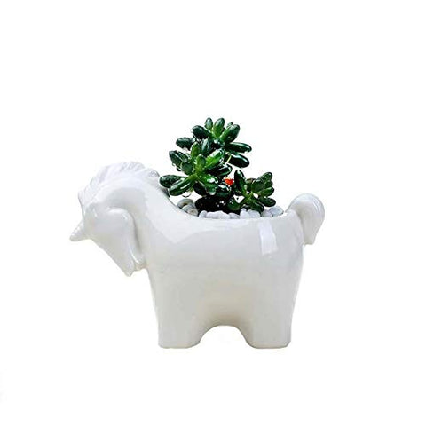 White Ceramic Unicorn Succulent Plant Pot Flower Planter