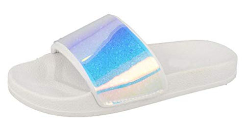 Unicorn Girls Iridescent Sliders Silver