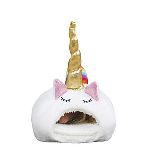 Small Animal Unicorn Pet Bed With Gold Horn | Pet Nest