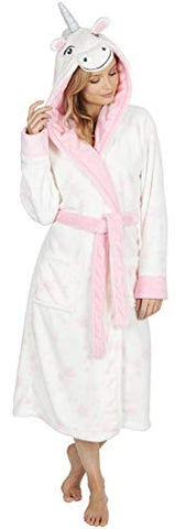 Ladies Soft & Cosy Hooded Dressing Gown | White Unicorn | Gift