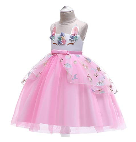 Pretty Princess Girls Unicorn Party Dress Princess Dressing up Costume with Headband, Bridesmaids Pink