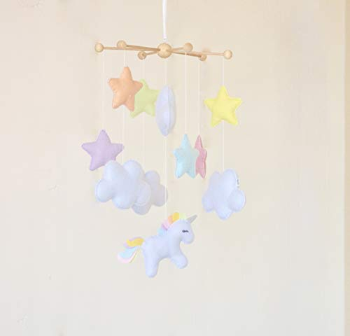 Hanging unicorn stars clouds pastel colours baby shower gift