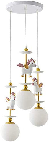 Unicorn Chandelier Light White Gold Pink