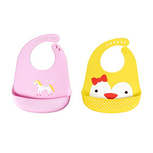 2 Pack Unicorn Chick Silicone Food Catcher Bibs
