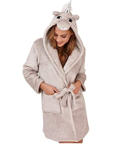 Ladies Super Soft Silver Grey Unicorn Design Dressing Gown | Sizes 8 - 22