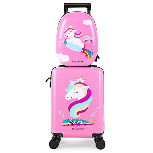 Unicorn Kids Suitcase | Carry On Rolling Luggage | Hard Shell Travel Suitcase | Pink