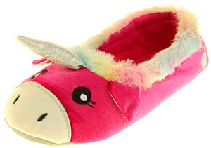 Women's Ladies Pink Unicorn Slippers, Winter Synthetic Fur | UK 3-4 Small