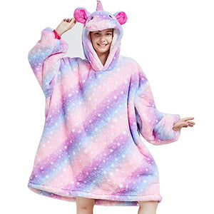Oversized Pastel Unicorn Hoodie Blanket Top