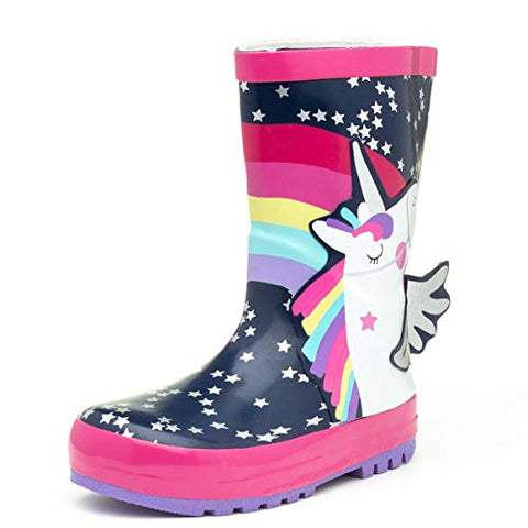 Multi-Coloured Unicorn Rainbow Stars Wellington Boots | For Kids