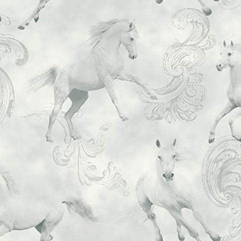 Arthouse | White Unicorn | Camarillo Wallpaper, Grey, 53 cm x 10.05 m