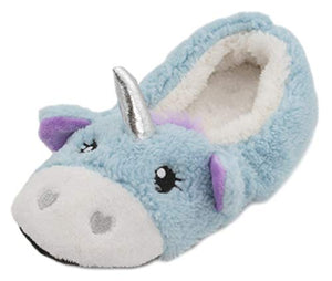Unicorn Ladies Fluffy Fleece Ballet Slippers Blue