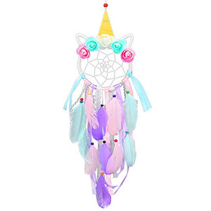 Handmade Unicorn Dream Catcher With Feathers | Wall Hanging Decoration