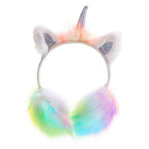 Cute Fluffy Unicorn Earmuffs | With Unicorn Horn | Glitter Ears