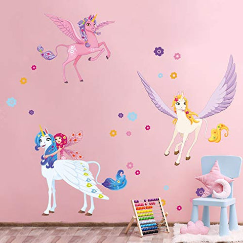 Unicorn Fairy Wall Stickers | Decals Art Decor | For Kids Girls Bedroom Nursery Playroom
