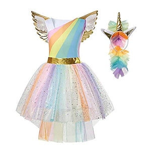 Girls Unicorn Fancy Dress Princess Costume | Party Outfit | Rainbow Tutu With Headband & Wings