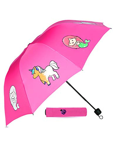 Unicorns & Mermaids Pink Colour Changing Umbrella | Kids