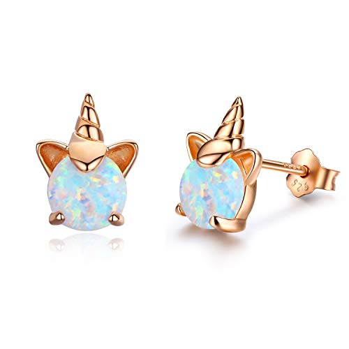Rose Gold & Opal Unicorn Earrings | Gifts For Women, Girls | Valentines Gif