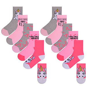 Girls Unicorn Design Socks | 10 Pack | Pink | Size UK 12.5-3.5/EU 31.5-36