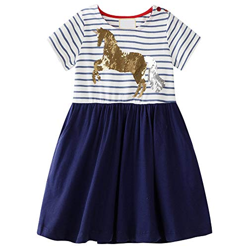 unicorn striped dress navy white