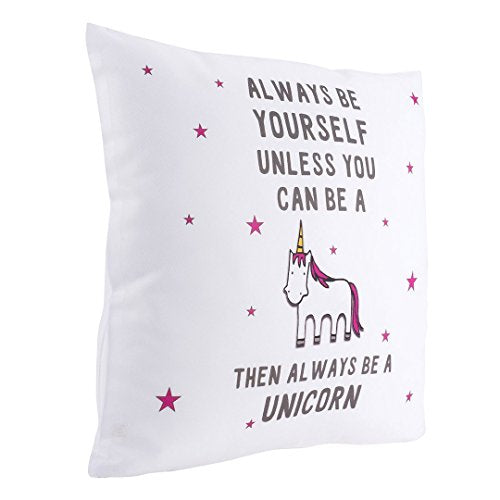 Beautiful unicorn cushion cover with stars and funny quote