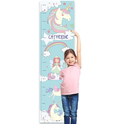 Personalised Unicorn Children's Height Chart for Kids Nursery Wall, or Bedroom - Unicorn Dreams
