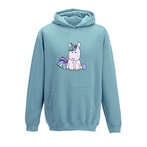 Unicorn Girls Hoody, Hooded Jumper (Baby Blue, 4-11 years)