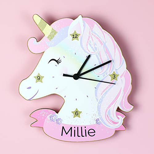 Unicorn Shaped Wall Clock | Personalised With Child's Name