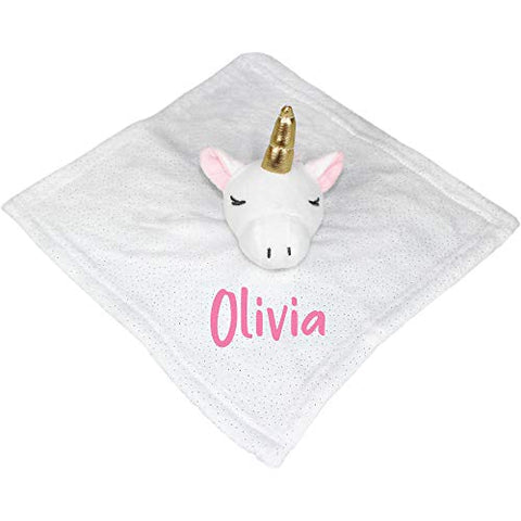 Personalised Unicorn Comforter Blanket (Bright Pink Embroidery) Gift Idea