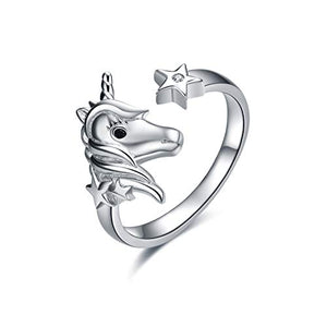 Sterling Silver Unicorn & Star Ring | For Women Girls | Gifts