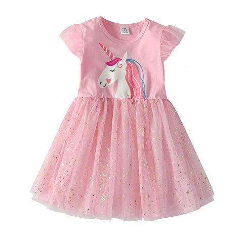 Girls Unicorn Printed Princess Dress - Casual Knee-Length Long-Sleeve Dress - Size 2 - 8 Years