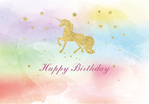 7x5FT watercolor colorful unicorn children Birthday party banner gold golden Glitter glamour Sparkle stars photo studio booth backdrop background newborn baby shower lv-2000 (7x5ft)