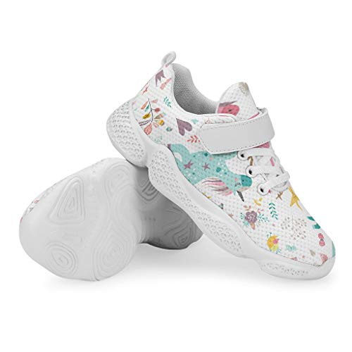 YxueSond Unicorn Baby Rainbow Floral Lightweight Breathable Walking Sport Shoes Fashion Breathable Sneakers Climbing Trail Running Shoes/Footwear For Boys