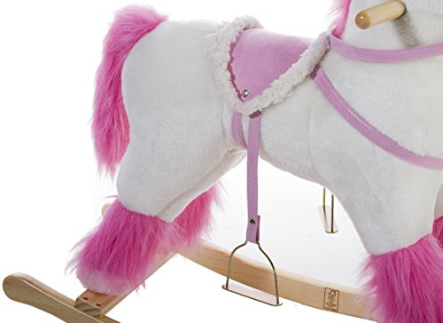 pink and white unicorn rocking horse