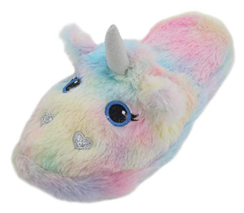 Fluffy Ladies Plush Rainbow Unicorn Mule Slippers, Multicolor