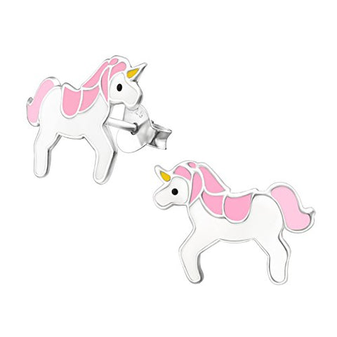 Pink and White Unicorn Earrings - Sterling Silver