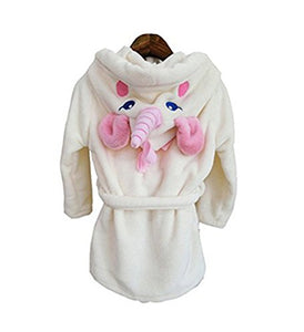 Kenmont Unicorn Dressing Gown Robe With Hooded Animal Bathrobes Costume (White, S (90-95cm))