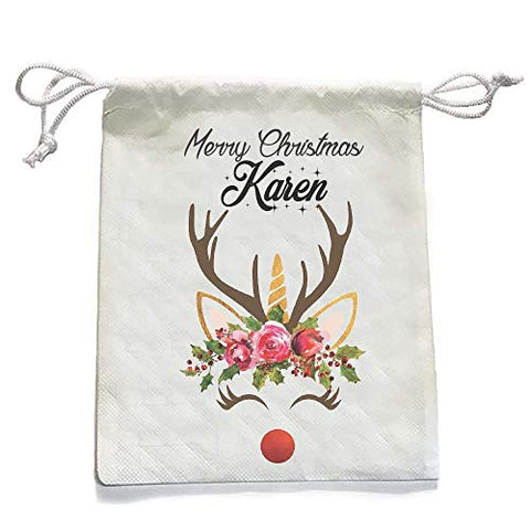 Reindeer Unicorn Personalised Small Christmas Santa Sack | Drawstring Bag