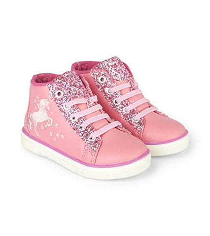 Hatley Girls' High Top Sneakers Hi Trainers, Pink Sparkle Horse Unicorn